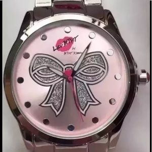 Luv Betsey Johnson Ribbon Bow Pink Silver Watch